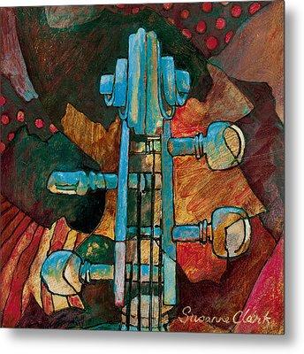 In Tune - String Instrument Scroll In Blue Metal Print by Susanne Clark