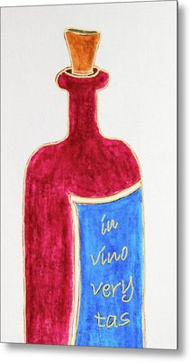 Metal Print featuring the drawing In Vino Very Tas by Frank Tschakert