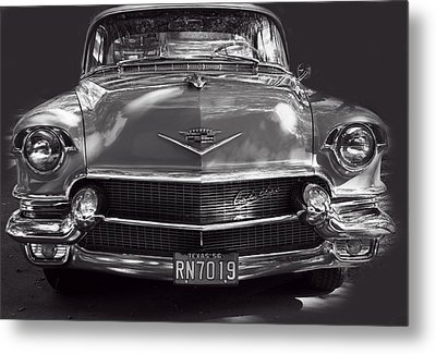 In Your Face - 1956 Cadillac Bw Metal Print