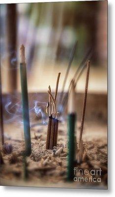 Incense Burning Metal Print by Jane Rix