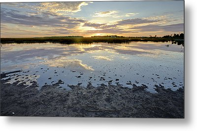 Incoming Tide Sunrise Reflection Metal Print by Dustin K Ryan