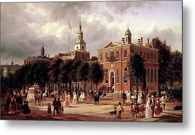 Metal Print featuring the painting Independence Hall by Ferdinand Richardt