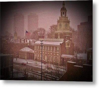 Independence Hall In The Snow Metal Print by Bill Cannon