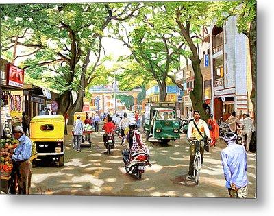 India Street Scene Metal Print