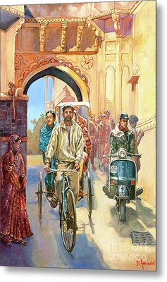 India Street Scene With A Bicycle Rickshaw Metal Print by Dominique Amendola