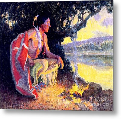 Indian By The Fire Metal Print by Roberto Prusso