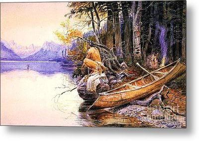 Indian Camp Lake Mcdonald Metal Print by Pg Reproductions