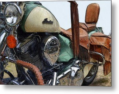 Indian Chief Vintage L Metal Print by Michelle Calkins