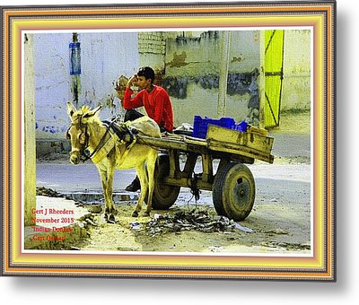Indian Donkey Cart Owner H A With Decorative Ornate Printed Frame. Metal Print by Gert J Rheeders
