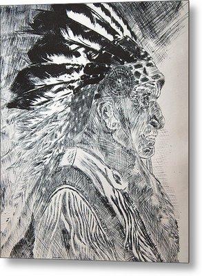 Indian Etching Print Metal Print by Lisa Stanley