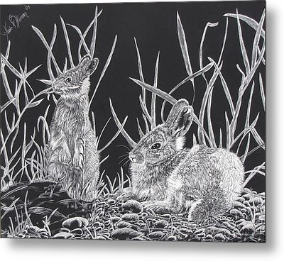 Indian Ink Rabbits Metal Print by Kevin F Heuman