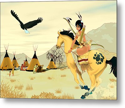 Metal Print featuring the painting Indian On Horse by Lynn Rider