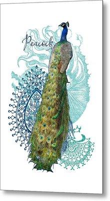 Indian Peacock Henna Design Paisley Swirls Metal Print