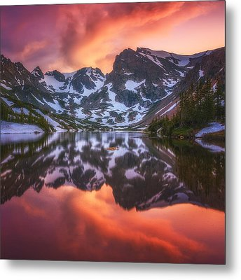 Indian Peaks Reflection Metal Print by Darren  White