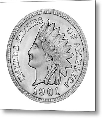 Indian Penny Metal Print by Greg Joens