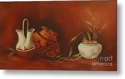 Indian Pottery With Wheat Metal Print by Ann Kleinpeter