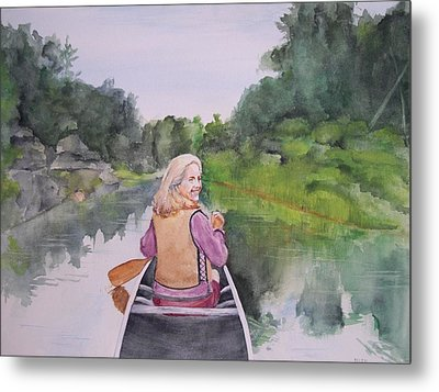 Metal Print featuring the painting Indian River by Ellen Canfield