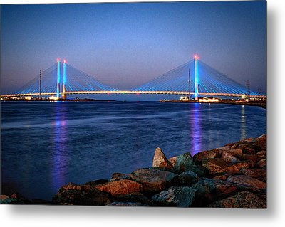 Indian River Inlet Bridge Twilight Metal Print by Bill Swartwout