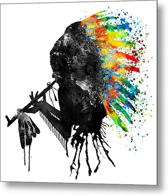 Indian Silhouette With Colorful Headdress Metal Print