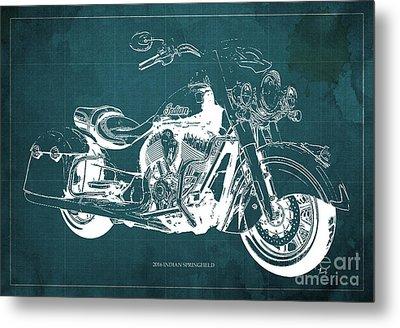 Indian Springfield 2016 Blueprint Art Vintage Background Metal Print by Pablo Franchi