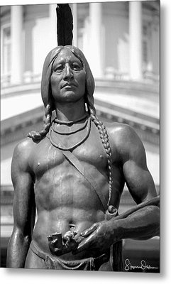 Indian Statue - Utah State Capitol - Signed Limited Edition Metal Print by Steve Ohlsen