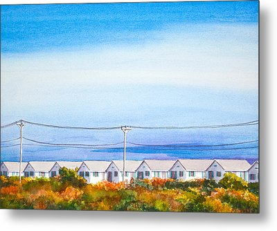 Indian Summer Days Cottages North Truro Massachusetts Watercolor Painting Metal Print by Michelle Wiarda