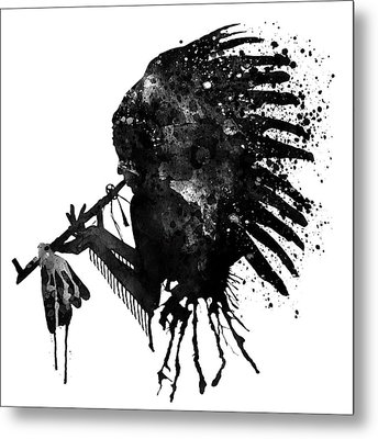 Indian With Headdress Black And White Silhouette Metal Print