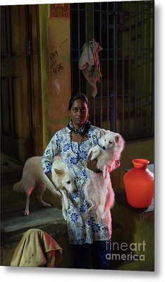 Metal Print featuring the photograph Indian Woman And Her Dogs by Mike Reid