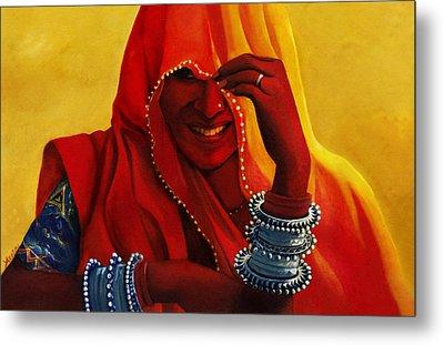 Indian Woman In Veil Metal Print