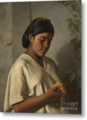 Indian Woman With Marigold Metal Print by MotionAge Designs