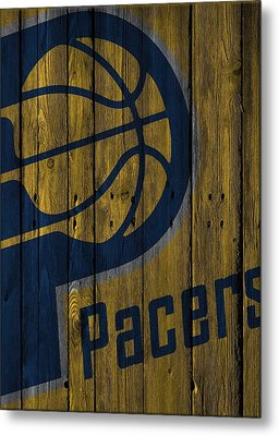 Indiana Pacers Wood Fence Metal Print