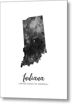 Indiana State Map Art - Grunge Silhouette Metal Print