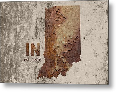 Indiana State Map Industrial Rusted Metal On Cement Wall With Founding Date Series 032 Metal Print by Design Turnpike
