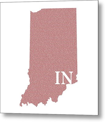 Indiana State Map With Text Of Constitution Metal Print by Design Turnpike