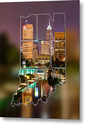 Indiana Typographic Blur - Indianapolis Skyline - Canal Walk Bridge View - State Shapes Series Metal Print