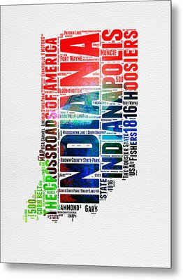 Indiana Watercolor Word Cloud Map  Metal Print by Naxart Studio