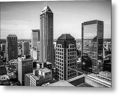 Indianapolis Aerial Black And White Photo Metal Print by Paul Velgos
