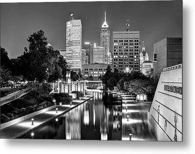 Indianapolis Black And White Downtown Skyline Metal Print