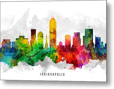 Indianapolis Indiana Cityscape 12 Metal Print by Aged Pixel