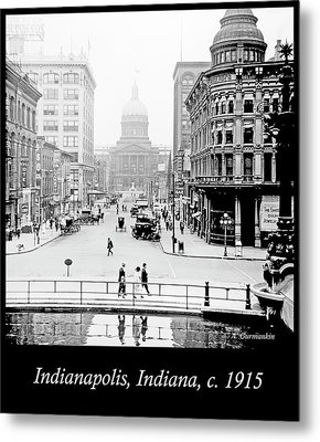 Indianapolis, Indiana, Downtown Area, C. 1915, Vintage Photograp Metal Print by A Gurmankin