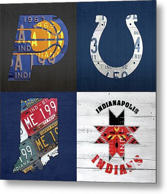 Indianapolis Indiana Sports Team License Plate Art Collage Map Pacers Colts Indians Metal Print by Design Turnpike