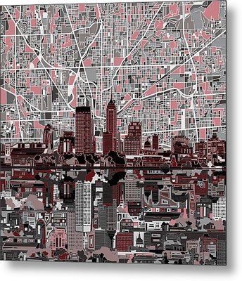 Indianapolis Skyline Abstract 1 Metal Print by Bekim Art