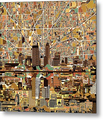 Indianapolis Skyline Abstract 2 Metal Print by Bekim Art