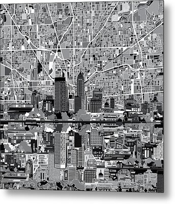 Indianapolis Skyline Abstract 6 Metal Print by Bekim Art