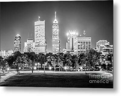 Indianapolis Skyline Black And White Picture Metal Print