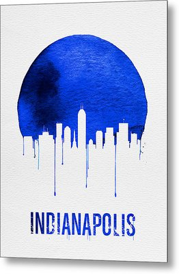 Indianapolis Skyline Blue Metal Print by Naxart Studio