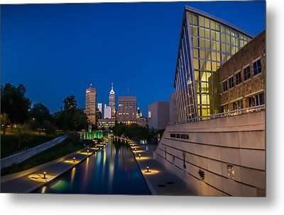 Indianapolis Skyline From The Canal At Night Metal Print by Ron Pate