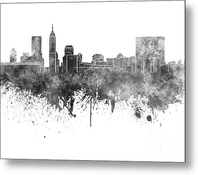 Indianapolis Skyline In Black Watercolor On White Background Metal Print by Pablo Romero