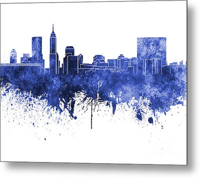 Indianapolis Skyline In Blue Watercolor On White Background Metal Print by Pablo Romero