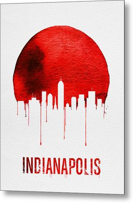 Indianapolis Skyline Red Metal Print by Naxart Studio